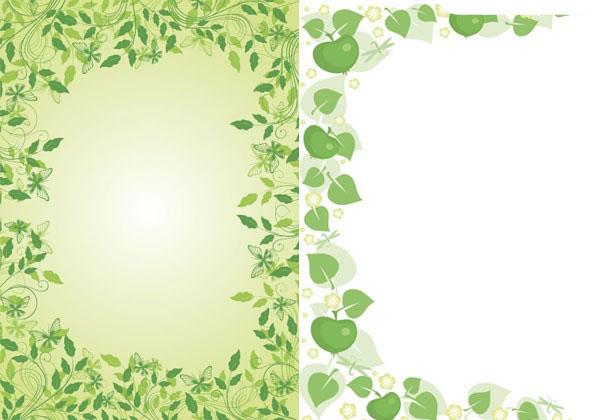 2款绿色花边框矢量图