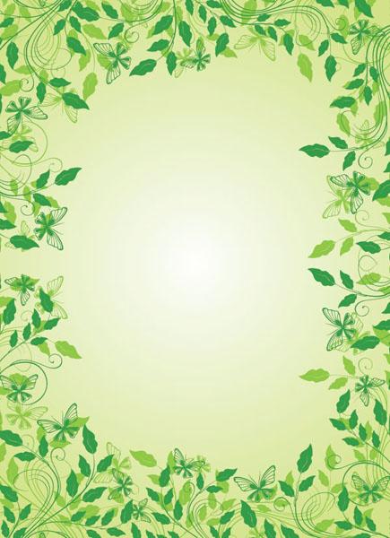 一款漂亮的绿叶花边矢量图免费素材下载