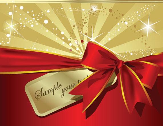 红色丝带礼品盒子矢量图