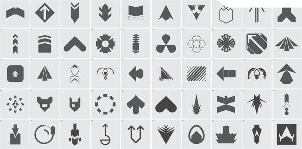 50个eps格式的黑白矢量箭头