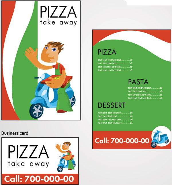 pizza外卖店宣传单模板矢量图免费素材下载