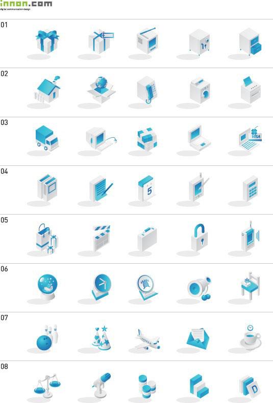 韩国蓝色系列图标矢量图素材下载 - 软件自学网