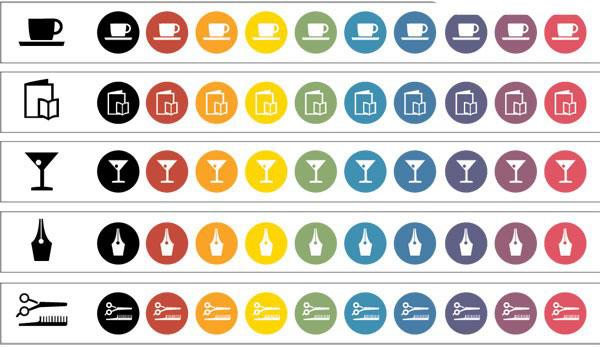 理发工具,剪子,酒杯,笔尖,咖啡杯,矢量图标
