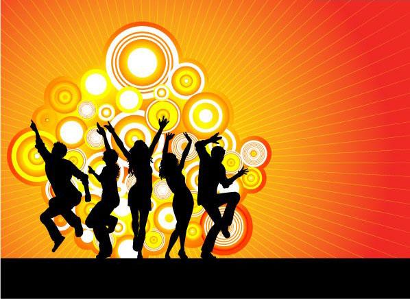 潮流舞蹈人物剪影eps格式素材矢量图
