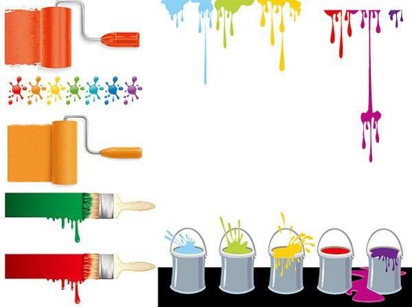 eps格式,含jpg预览图,关键字:生活矢量素材,油漆,涂料,油漆刷,油漆桶
