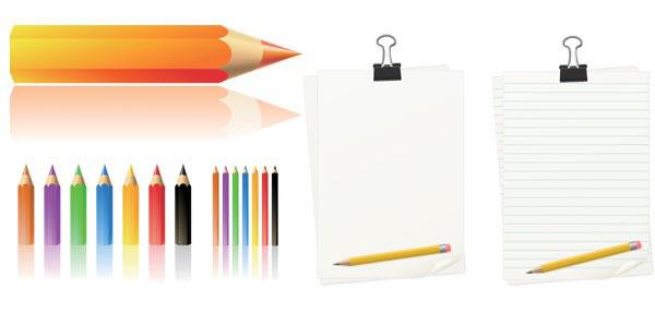 彩色铅笔和本子素材矢量图