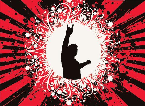 摇滚人物与潮流花纹素材矢量图