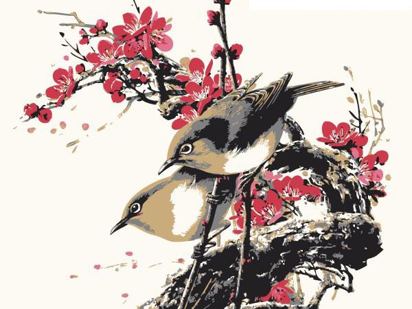一幅小鸟梅花图工笔画素材矢量图