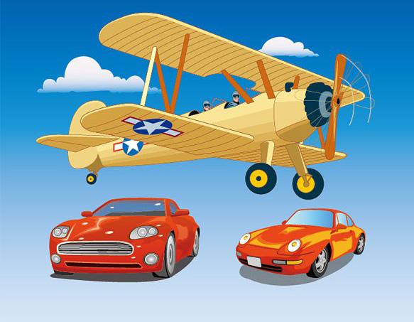 卡通风格飞机与小轿车素材矢量图免费素材下载