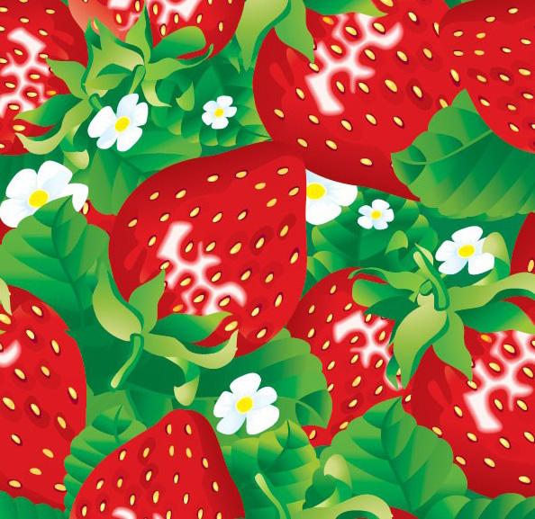 一款鲜亮的草莓背景素材矢量图