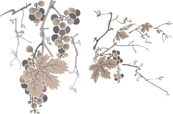 一款水墨葡萄树素材矢量图免费素材下载