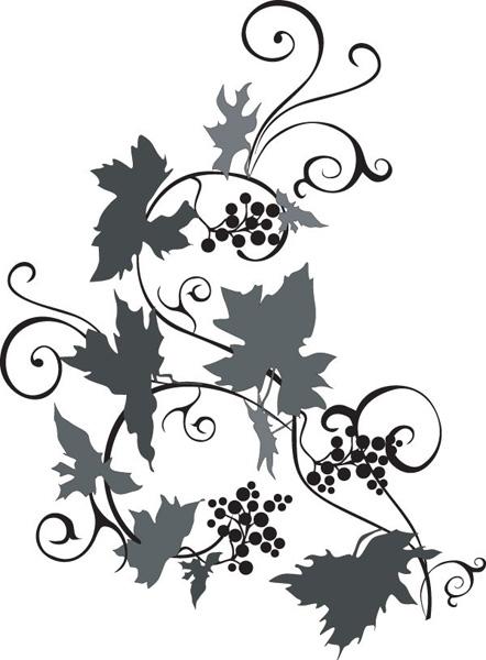 一款ai格式葡萄树剪影素材矢量图
