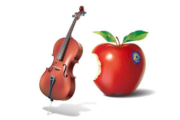 诱人的红苹果和小提琴素材矢量图免费素材下载
