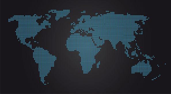 世界地图点状形风格矢量图