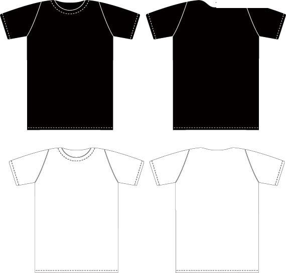 正反面的黑白t恤素材矢量图