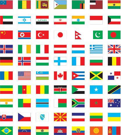各个国家国旗简笔画》世界国旗图标》不同国家的国旗