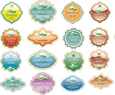 多款欧式风格的水晶标签素材矢量图