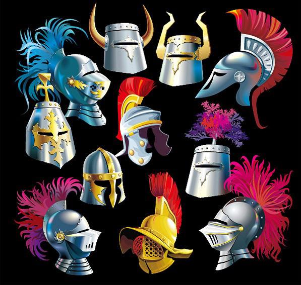 各种各样的古代武士头盔素材矢量图