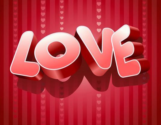 爱情主题love立体字素材矢量图免费素材下载