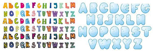 26个可爱的英文字母素材矢量图
