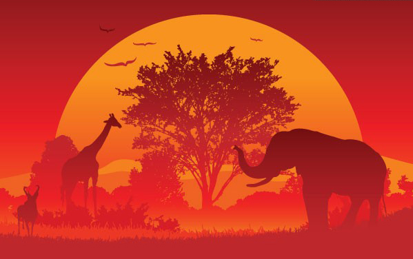 夕阳下动物的素材矢量图免费素材下载