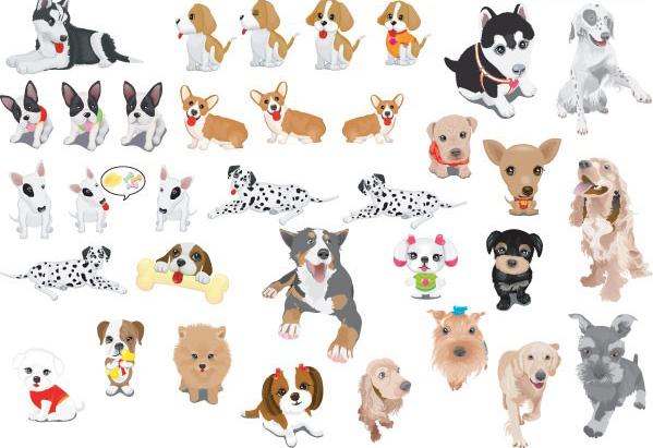 各种可爱的宠物狗素材矢量图