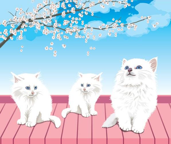屋顶上顽皮可爱的白色猫咪素材矢量图