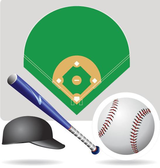 棒球运动器材及场地矢量素材免费素材下载