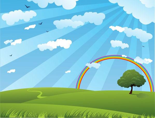 太阳彩虹边框素材