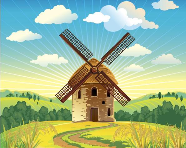 荷兰风车和自然风光素材矢量图