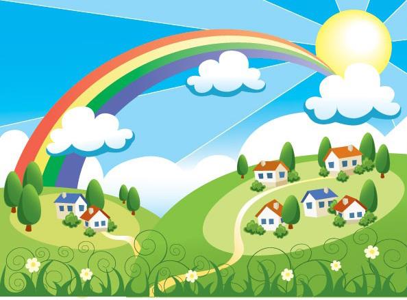 太阳房子彩虹草地绿色蓝天白云矢量图