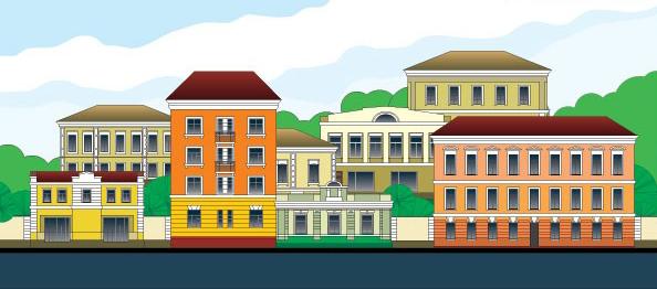 风景建筑矢量素材,平静,美丽,小镇,楼房,建筑,树木,蓝天,白云,卡通 &