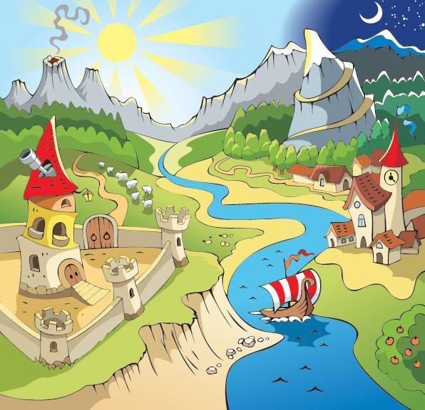 矢量风景,矢量建筑,卡通,房子,火山,太阳,月亮,船,河流,城堡,树木