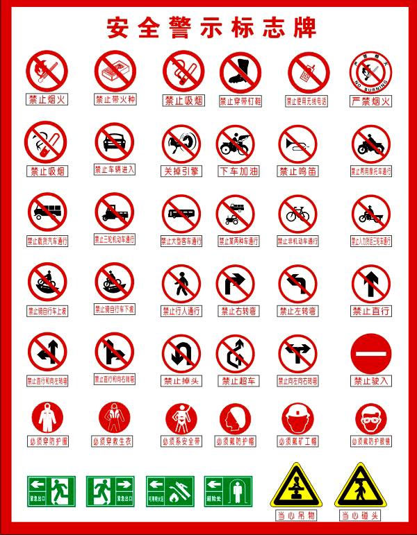 各种cdr格式安全警示标志牌素材矢量图