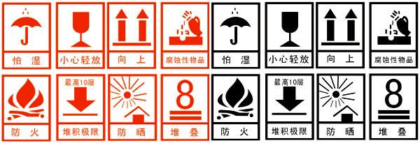 包装运输警示标志素材矢量图
