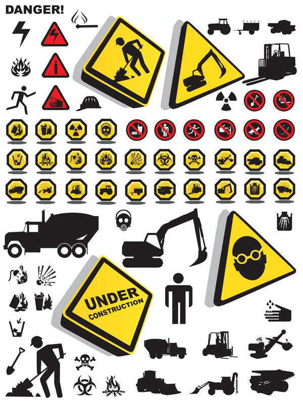 各种施工安全警示标志素材矢量图