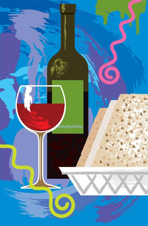 印象风格红酒杯和酒瓶素材矢量图