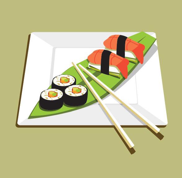 美味的日本寿司素材矢量图