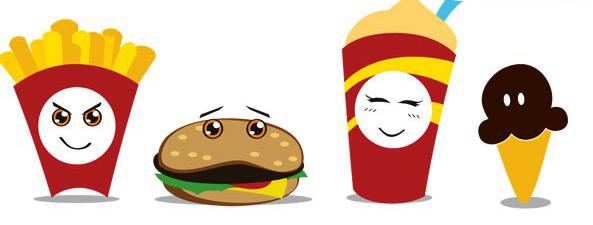 有趣的卡通快餐食品素材矢量图