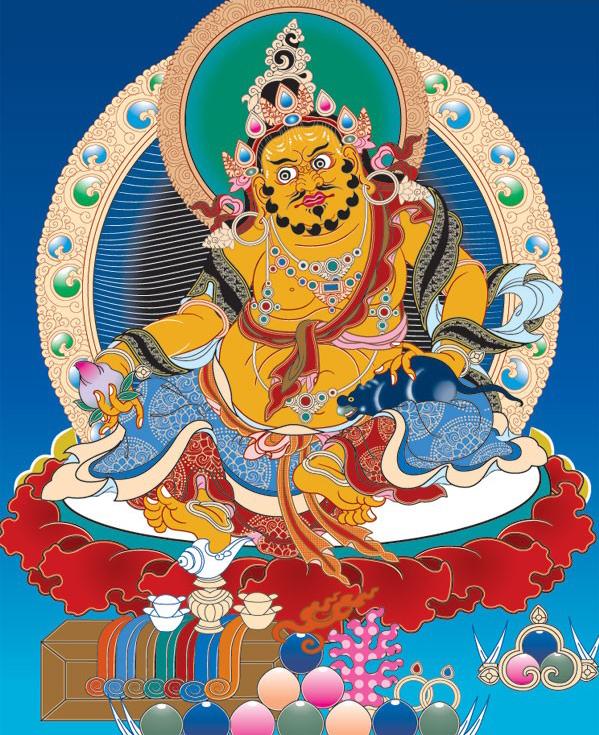 佛教传统人物黄财神矢量图免费素材下载