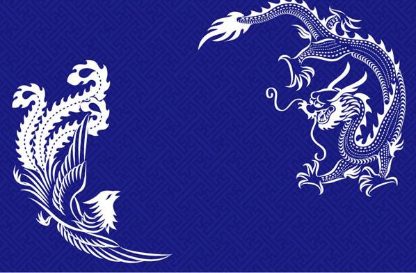 中国古典龙凤花纹素材矢量图