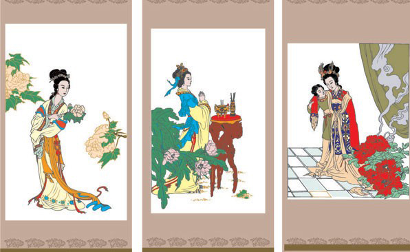 中国古代的几幅婀娜多姿仕女图素材矢量图