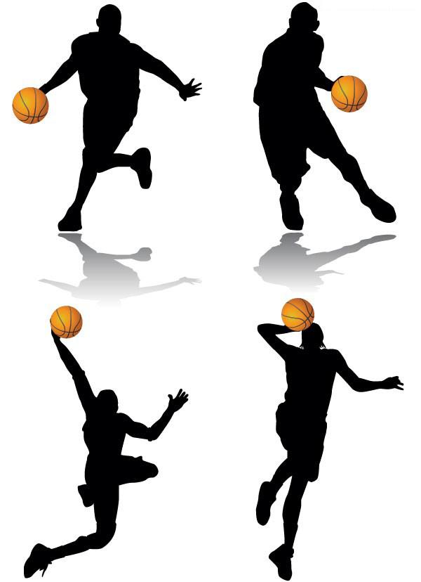 经典篮球动作剪影矢量图免费素材下载