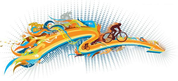 一款动感十足的自行车运动主题矢量