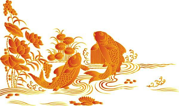 中国传统吉祥的鲤鱼跳龙门矢量图素材下载 - 软件自学