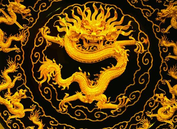 中国传统吉祥金龙矢量图案