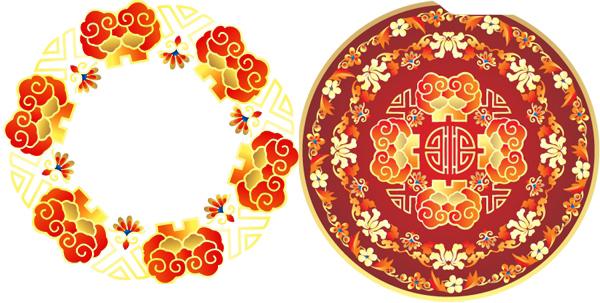 中国传统喜庆圆形矢量图案素材下载 - 软件自学网