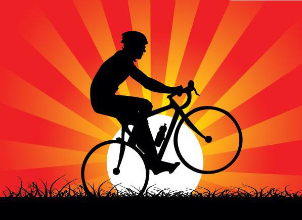 落日下的自行车运动素材矢量图免费素材下载