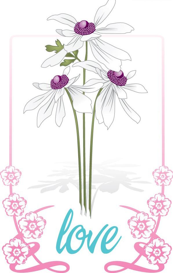 一款白色花朵花边素材矢量图