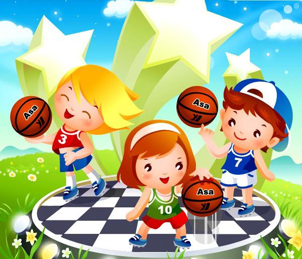 可爱卡通儿童篮球运动图片